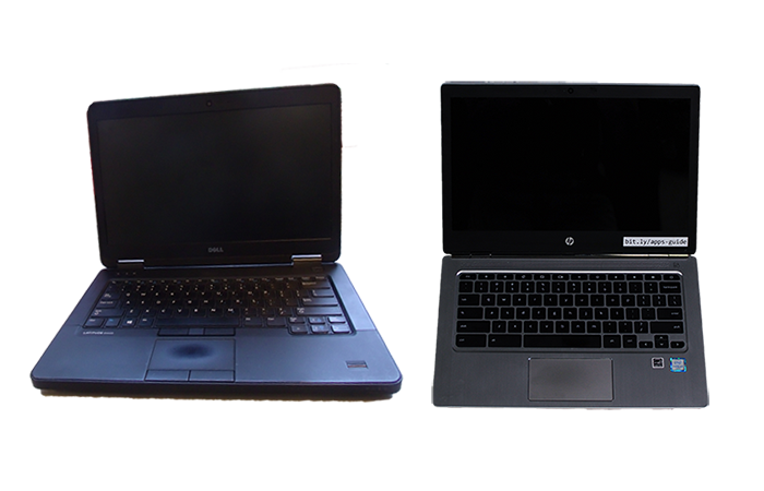 Two laptops, one dell latitude and one hp chromebook